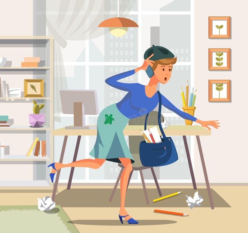 Διανυσματική γυναίκα απεικόνισης με τα τηλεφωνικά τρεξίματα προς διανυσματική απεικόνιση
