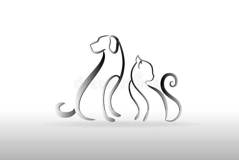 Διανυσματική εικόνα καρτών ταυτότητας λογότυπων σκυλιών και γατών διανυσματική απεικόνιση