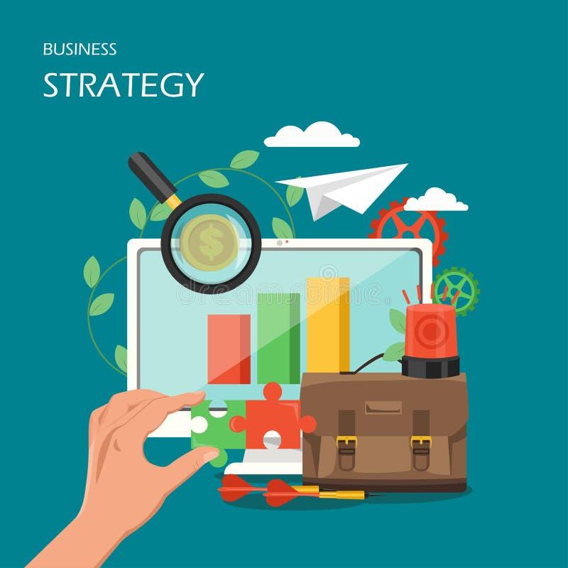 Διανυσματική επίπεδη απεικόνιση σχεδίου ύφους επιχειρησιακής στρατηγικής ελεύθερη απεικόνιση δικαιώματος