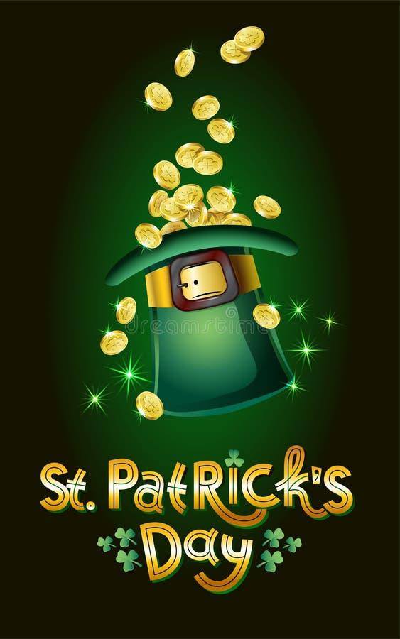 Διανυσματική κάρτα ημέρας Αγίου Patricks, σύνολο καπέλων των χρυσών νομισμάτων, θησαυρός Leprechaun Ευτυχής ημέρα του ST Patricks απεικόνιση αποθεμάτων