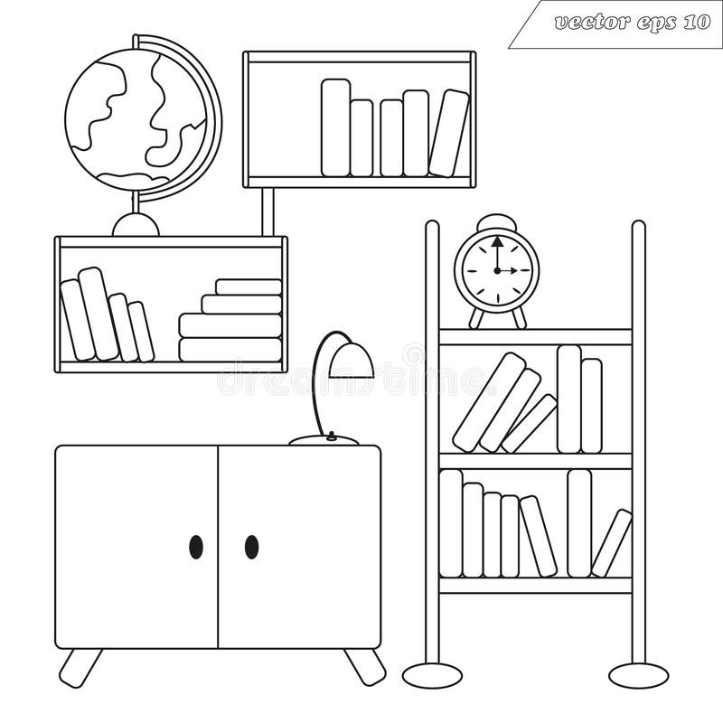 Διανυσματική διακόσμηση δωματίων Lineart με τα ράφια των βιβλίων και της σφαίρας ελεύθερη απεικόνιση δικαιώματος