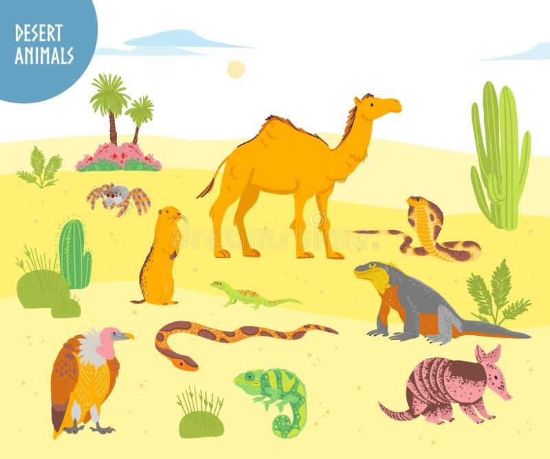 Διανυσματική συλλογή του επίπεδου συρμένου χέρι ζώου ερήμων, ερπετά, έντομα: καμήλα, φίδι, σαύρα που απομονώνεται στο άσπρο υπόβα διανυσματική απεικόνιση