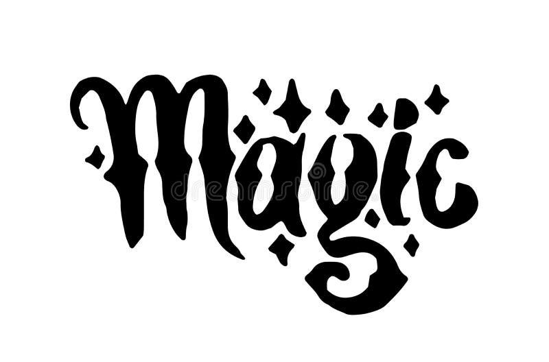 Διανυσματική συρμένη χέρι μάγισσα και μαγική γράφοντας απεικόνιση λέξης στο άσπρο υπόβαθρο διανυσματική απεικόνιση