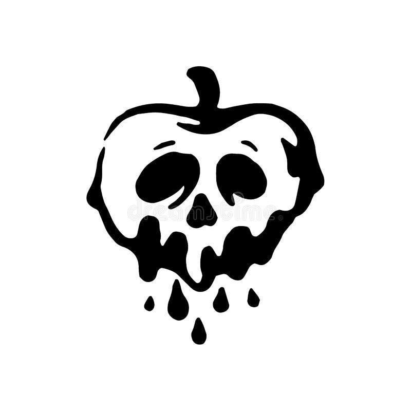 Διανυσματική συρμένη χέρι μάγισσα και μαγικό μήλο δηλητήριων απεικόνισης στοιχείων στο άσπρο υπόβαθρο απεικόνιση αποθεμάτων