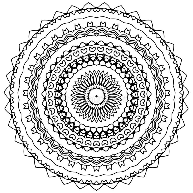 Διανυσματική τέχνη Mandala, διαμορφωμένα λουλούδια απεικόνιση αποθεμάτων