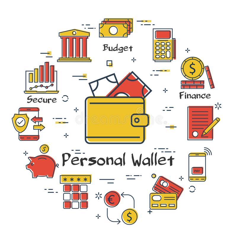 Διανυσματική τραπεζική έννοια χρηματοδότησης - προσωπικό πορτοφόλι ελεύθερη απεικόνιση δικαιώματος