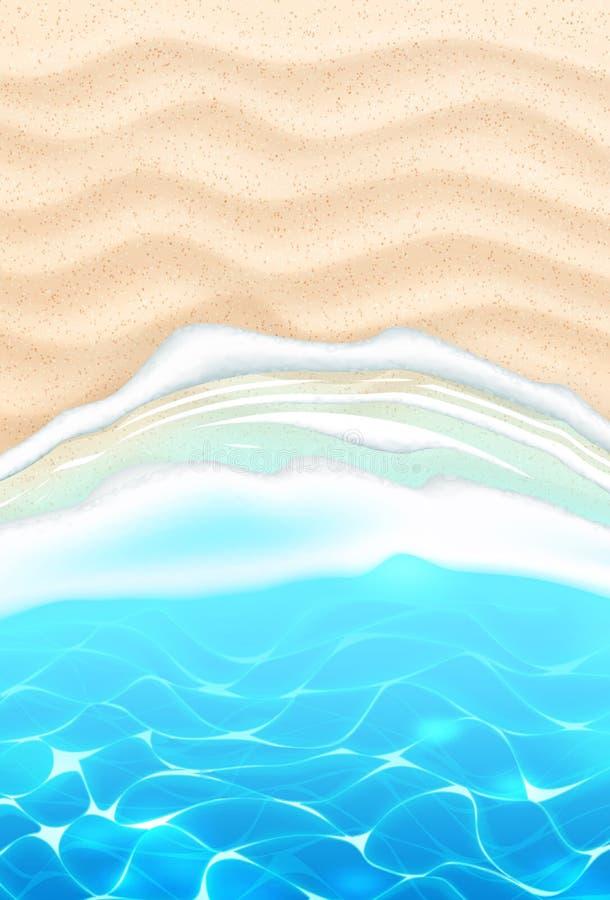 Διανυσματική παραλιών ακτή άμμου κυμάτων παραλιών κυανή απεικόνιση αποθεμάτων