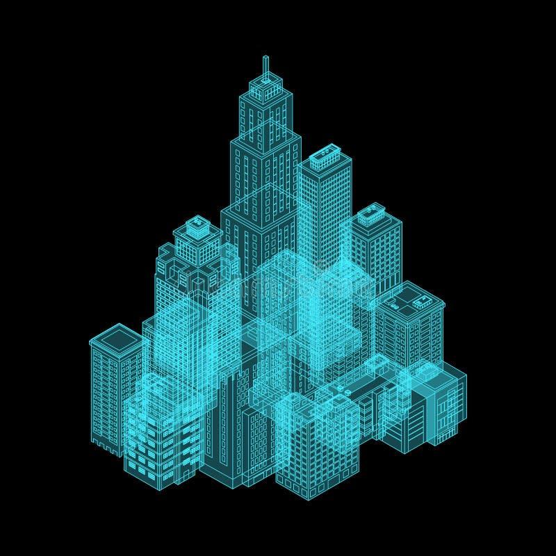 Διανυσματική Isometric πόλη ολογραφίας απεικόνιση αποθεμάτων