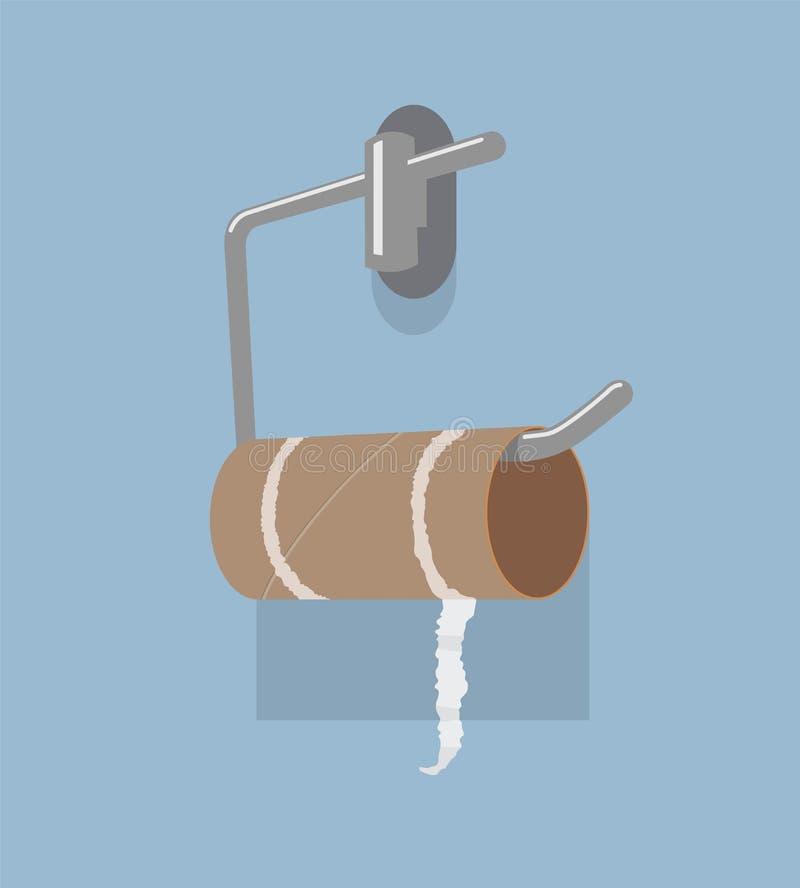 Διανυσματικοί κενοί ρόλος χαρτιού τουαλέτας και κάτοχος μετάλλων απεικόνιση αποθεμάτων