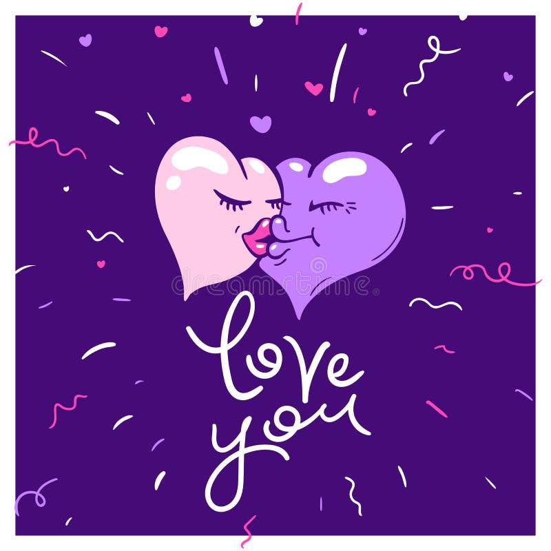 Διανυσματικός τύπος έννοιας της αγάπης - εικονίδια καρδιών του κοριτσιού αγοριών Αυτός ο γραφικός αντιπροσωπεύει επίσης ένα άτομο ελεύθερη απεικόνιση δικαιώματος