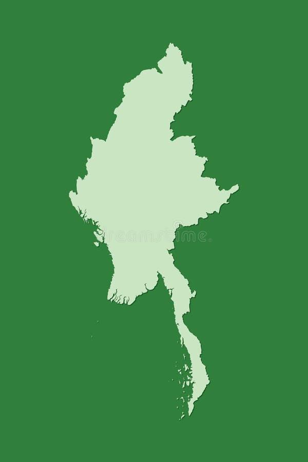 Διανυσματικός χάρτης του Μιανμάρ με την ενιαία περιοχή γης που χρησιμοποιεί το πράσινο χρώμα στη σκοτεινή απεικόνιση υποβάθρου απεικόνιση αποθεμάτων