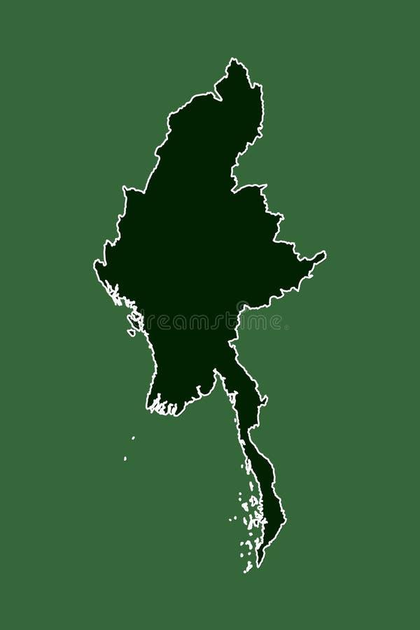 Διανυσματικός χάρτης του Μιανμάρ με το ενιαίο όριο γραμμών συνόρων που χρησιμοποιεί την πράσινη περιοχή χρώματος στη σκοτεινή απε διανυσματική απεικόνιση