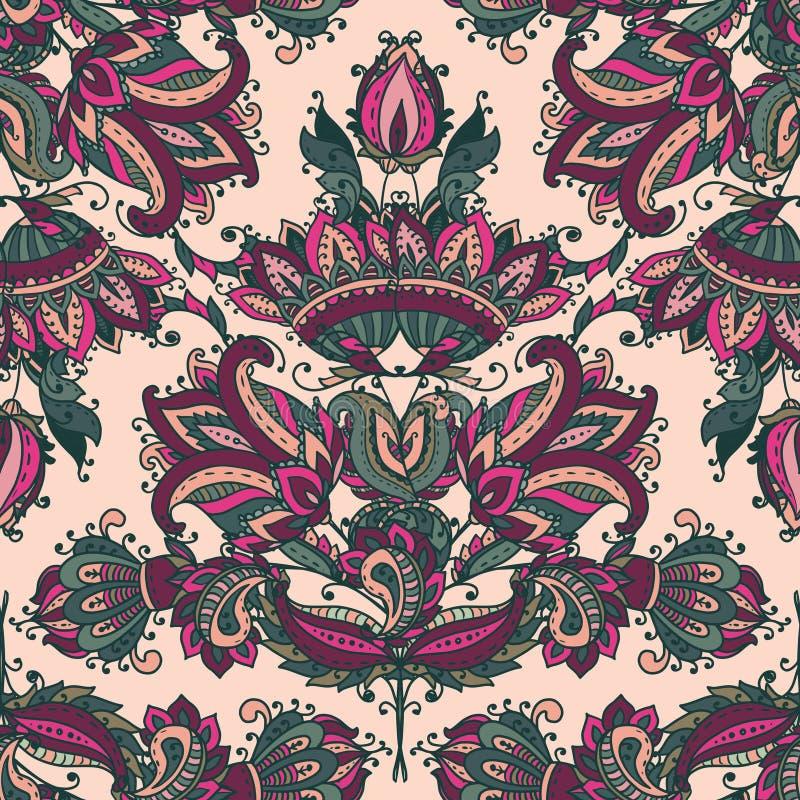 Διανυσματικό άνευ ραφής σχέδιο με συρμένα τα χέρι floral στοιχεία του Paisley διανυσματική απεικόνιση