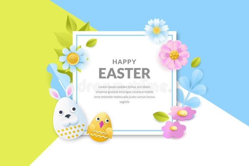 Διανυσματικό έμβλημα Πάσχας, αφίσα Υπόβαθρο διακοπών με τα τρισδιάστατα αυγά περικοπών εγγράφου, λουλούδια, φύλλα Δημιουργικό σχέ ελεύθερη απεικόνιση δικαιώματος