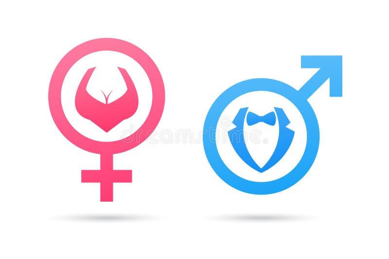 Διανυσματικό αρσενικό και θηλυκό σύμβολο γένους Εικονίδιο ανδρών και γυναικών Σημάδι τουαλετών κυρίων και κυρίας απεικόνιση αποθεμάτων