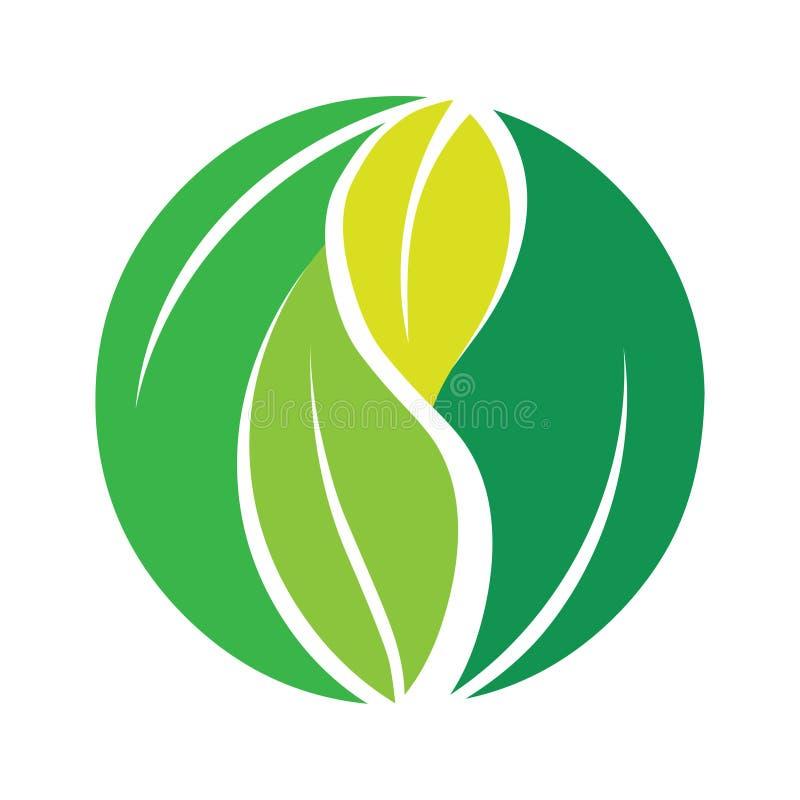 Διανυσματικό εικονίδιο λογότυπων φύλλων Πράσινη γήινη απεικόνιση σφαιρών διανυσματική απεικόνιση