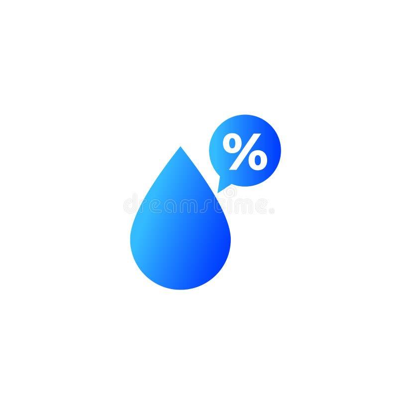 Διανυσματικό εικονίδιο τοις εκατό υγρασίας ελεύθερη απεικόνιση δικαιώματος