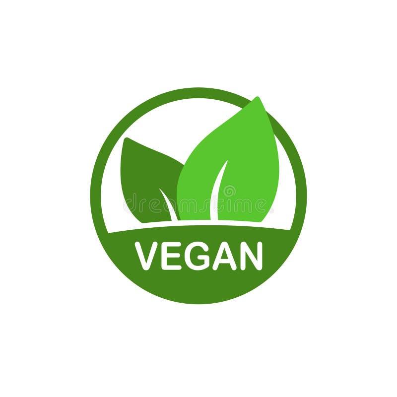 Διανυσματικό εικονίδιο Vegan, βιο σημάδι eco, φυσική χορτοφάγος έννοια διατροφής, ακατέργαστα τρόφιμα Επίπεδη αυτοκόλλητη ετικέττ ελεύθερη απεικόνιση δικαιώματος