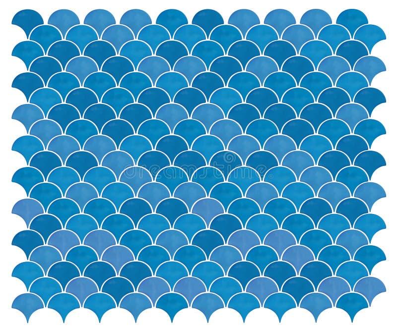 Διανυσματικό θαλάσσιο μπλε άνευ ραφής υπόβαθρο γοργόνων με ένα σχέδιο των κλιμάκων ψαριών Κεραμίδια γοργόνων διανυσματική απεικόνιση