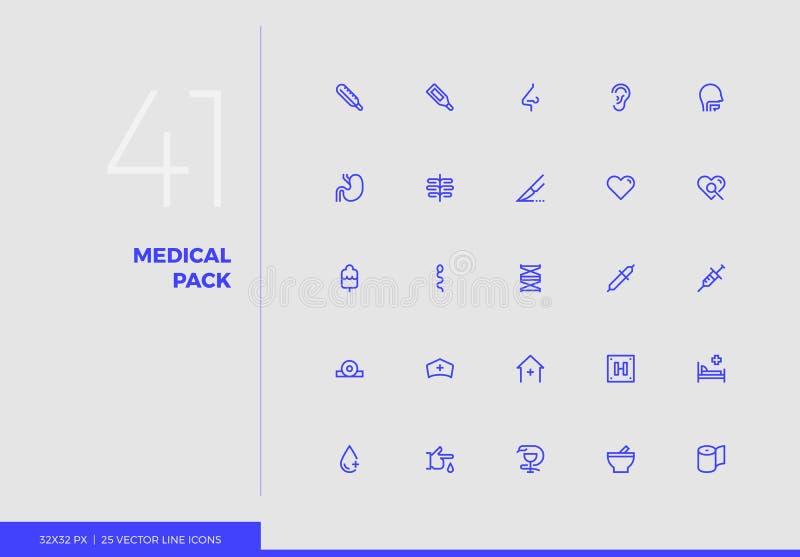 Διανυσματικό ιατρικό πακέτο εικονιδίων γραμμών ελεύθερη απεικόνιση δικαιώματος
