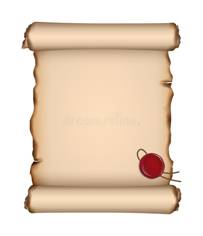 Διανυσματικό κενό παλαιό φύλλο περγαμηνής με τις σχισμένες και μμένες άκρες και κόκκινη σφραγίδα κεριών στο άσπρο υπόβαθρο διανυσματική απεικόνιση