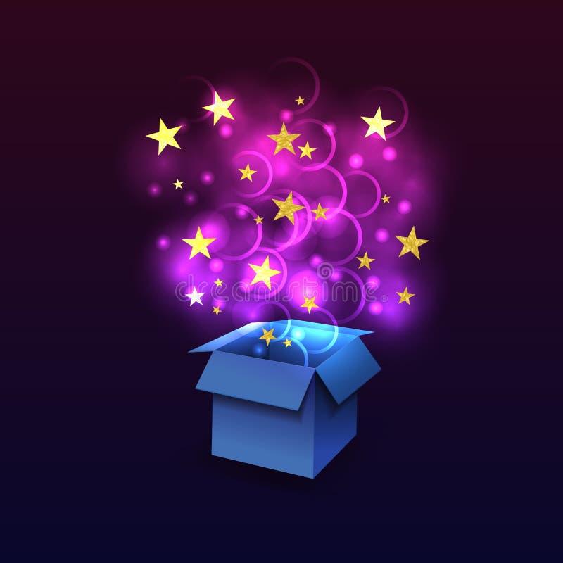 Διανυσματικό κιβώτιο με Fying έξω από τα μαγικά φω'τα, τα ακτινοβολώντας κατασκευασμένα αστέρια, το μπλε και το υπεριώδες χρώμα απεικόνιση αποθεμάτων