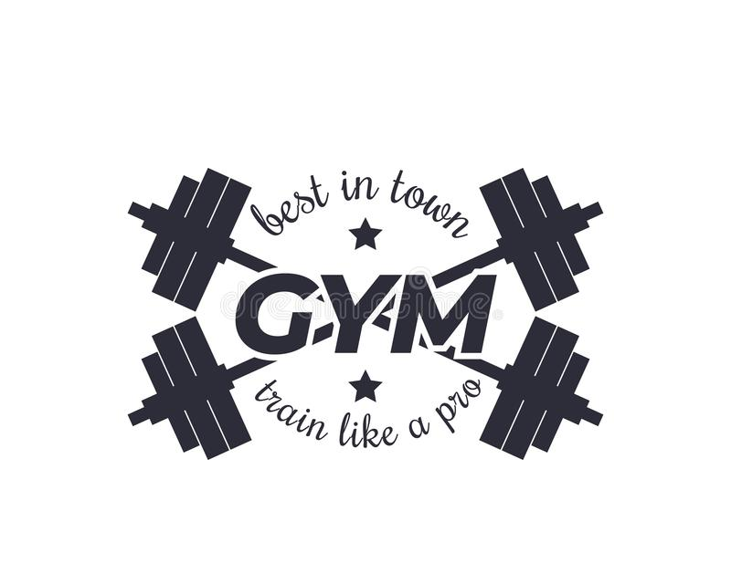 Διανυσματικό λογότυπο γυμναστικής με τα barbells διανυσματική απεικόνιση
