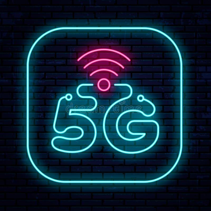 Διανυσματικό δίκτυο σημαδιών 5G νέου απεικόνιση αποθεμάτων