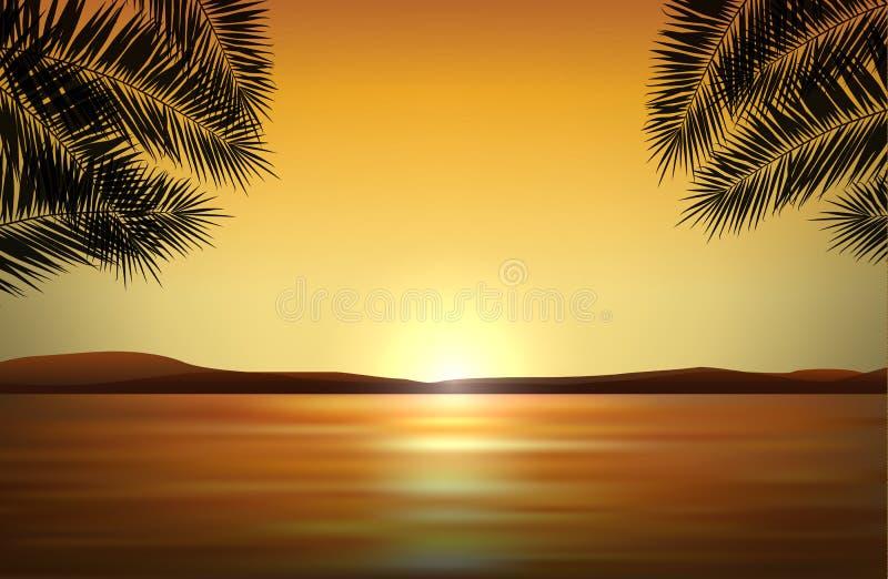 Διανυσματικό ρεαλιστικό τοπίο με το ηλιοβασίλεμα θαλασσίως στον τροπικό παράδεισο και τις σκιαγραφίες των φοινικών ελεύθερη απεικόνιση δικαιώματος