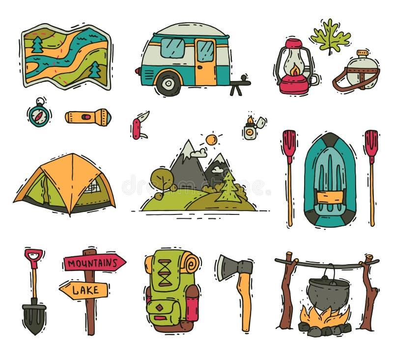 Διανυσματικό σύνολο αντικειμένων στρατοπέδευσης και πεζοπορίας στο ύφος doodle Εξοπλισμός τουριστών υπαίθρια αναψυχή μεσημερ& Θερ διανυσματική απεικόνιση
