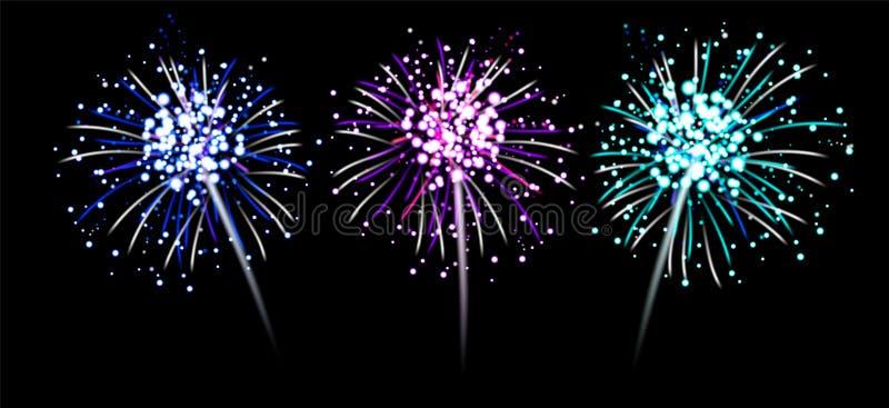 Διανυσματικό σύνολο απεικόνισης ρεαλιστικά μπλε, ρόδινα, πορφυρά firecrackers ελεύθερη απεικόνιση δικαιώματος