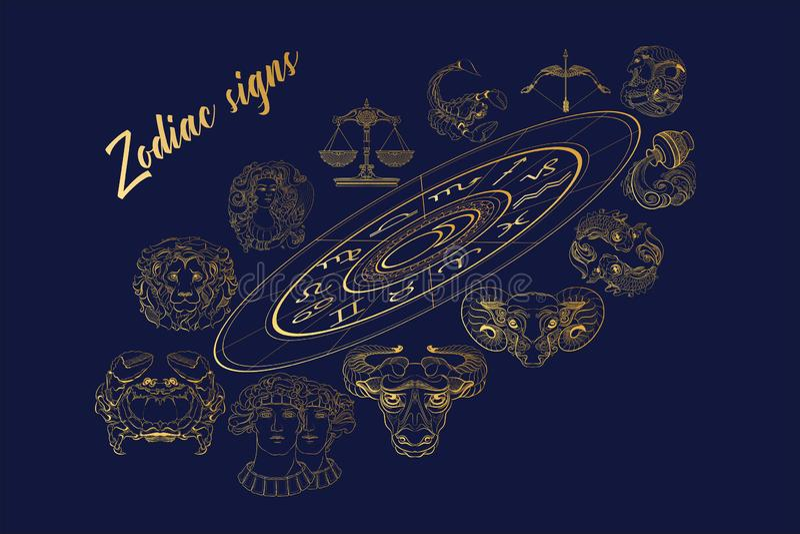 Διανυσματικό σύνολο χρυσών zodiac περιλήψεων σημαδιών επίσης corel σύρετε το διάνυσμα απεικόνισης διανυσματική απεικόνιση
