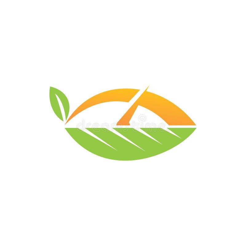 Διανυσματικό σύνολο προτύπων σχεδίου λογότυπων φύλλων απεικόνιση αποθεμάτων