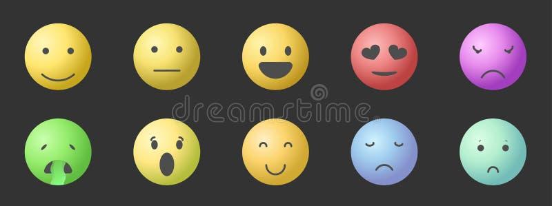 Διανυσματικό σύνολο Emoticons Σύνολο Emoji Απεικονίσεις ύφους κλίσης χαμόγελου απεικόνιση αποθεμάτων