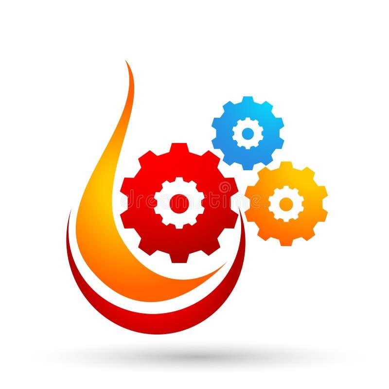 Διανυσματικό στοιχείο εικονιδίων λογότυπων πυρκαγιάς φλογών εργαλείων στο άσπρο υπόβαθρο ελεύθερη απεικόνιση δικαιώματος