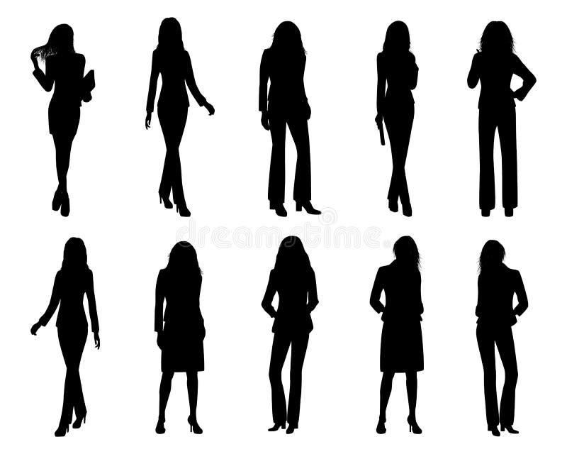 Διανυσματικό σχέδιο επιχειρησιακών γυναικών σκιαγραφιών διανυσματική απεικόνιση