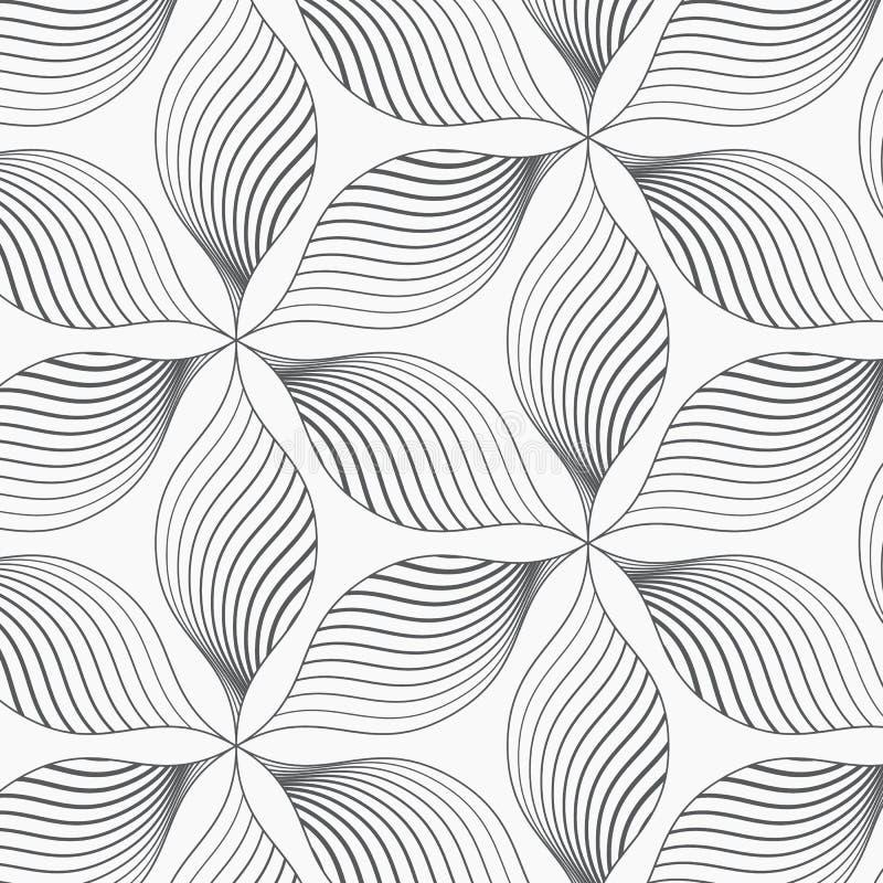 Διανυσματικό σχέδιο, που επαναλαμβάνει τα αφηρημένα πέταλα του λουλουδιού στη hexagon μορφή γραφικός καθαρός για το ύφασμα, ταπετ διανυσματική απεικόνιση