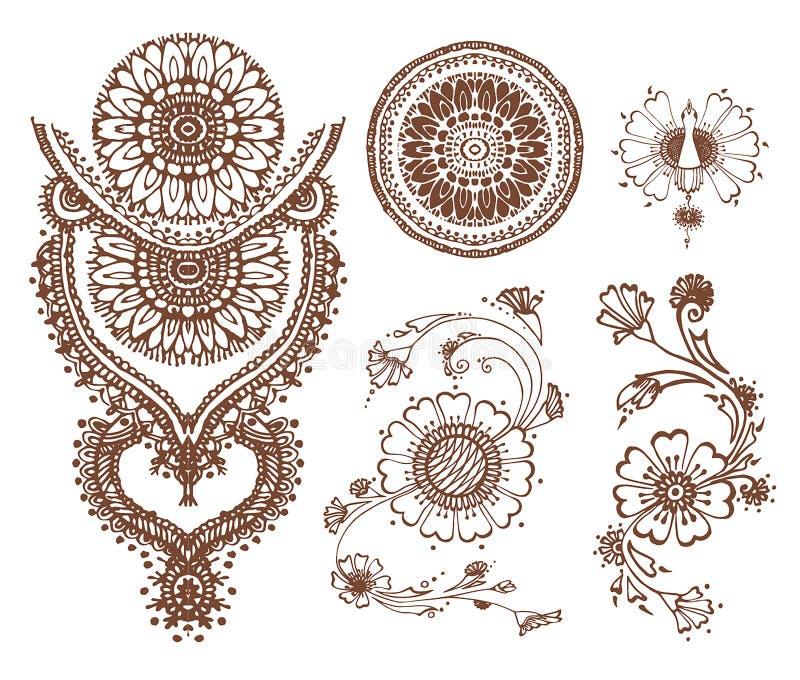 Διανυσματικό συρμένο χέρι σκίτσο henna της απεικόνισης σχεδίων στο άσπρο υπόβαθρο απεικόνιση αποθεμάτων