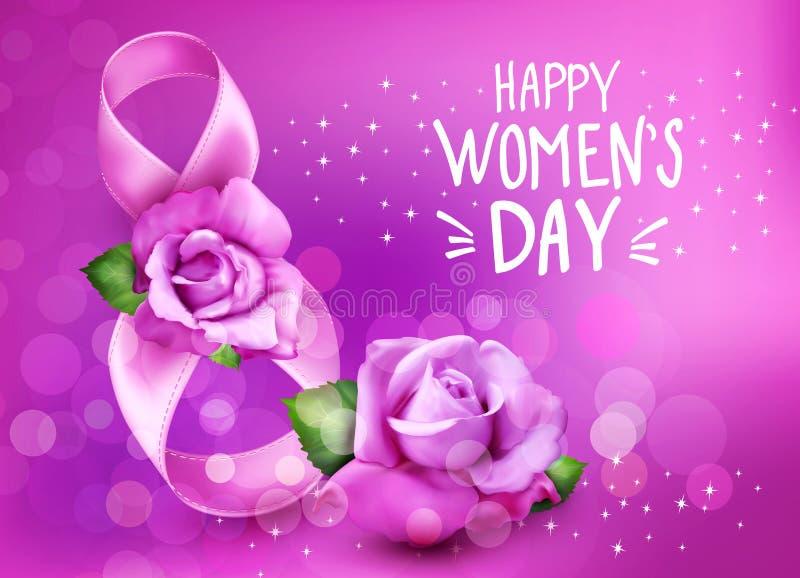Διανυσματικό υπόβαθρο στο 8ο της ημέρας γυναικών ` s Μαρτίου Κάρτα σχεδίου προτύπων Αριθμός 8, κορδέλλες με τα ρόδινα τριαντάφυλλ απεικόνιση αποθεμάτων