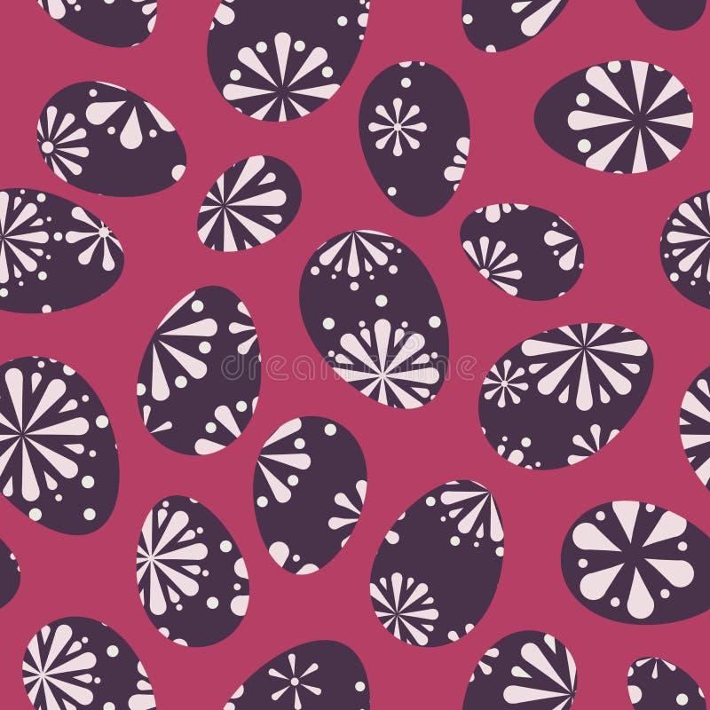Διανυσματικό Πάσχας ροζέτων αναδρομικό υπόβαθρο σχεδίων αυγών άνευ ραφής απεικόνιση αποθεμάτων