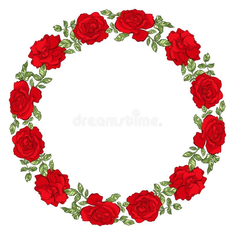 Διανυσματικό πλαίσιο κύκλων με τα κόκκινα τριαντάφυλλα διανυσματική απεικόνιση