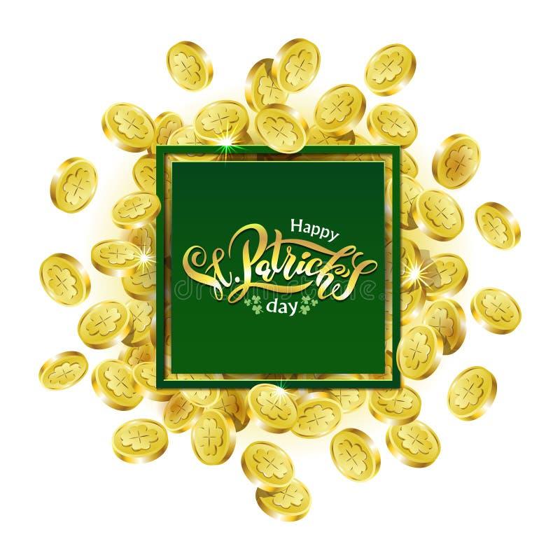 Διανυσματικό πράσινο τετραγωνικό πλαίσιο διαφήμισης Διεσπαρμένα χρυσά νομίσματα που απεικονίζουν το τριφύλλι με την ημέρα του ST  ελεύθερη απεικόνιση δικαιώματος