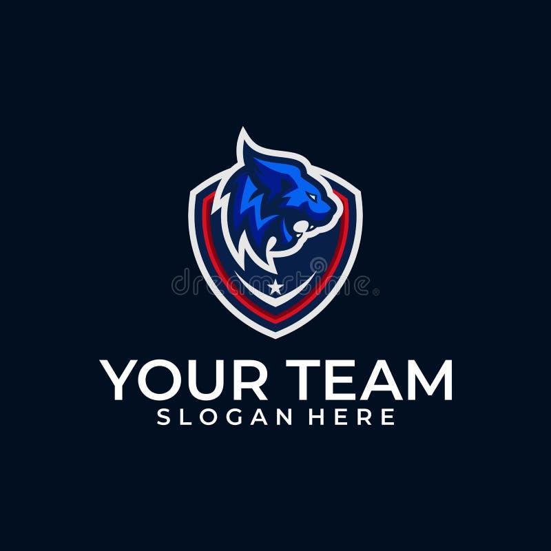 Διανυσματικό πρότυπο απεικόνισης σχεδίου χρώματος αθλητικών επικεφαλής λιονταριών απεικόνιση αποθεμάτων