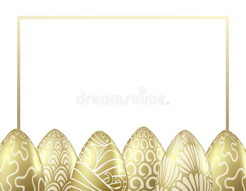 Διανυσματικό πρότυπο σχεδίου με τα ρεαλιστικά χρυσά αυγά Πάσχας διανυσματική απεικόνιση