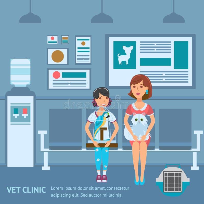 Διανυσματικό πρότυπο χρώματος εμβλημάτων Ιστού σειρών αναμονής κλινικών κτηνιάτρων απεικόνιση αποθεμάτων