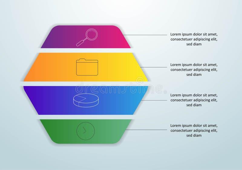 Διανυσματικό infographic πρότυπο με την τρισδιάστατη ετικέτα εγγράφου, ενσωματωμένοι κύκλοι Επιχειρησιακή έννοια με 4 επιλογές Γι ελεύθερη απεικόνιση δικαιώματος