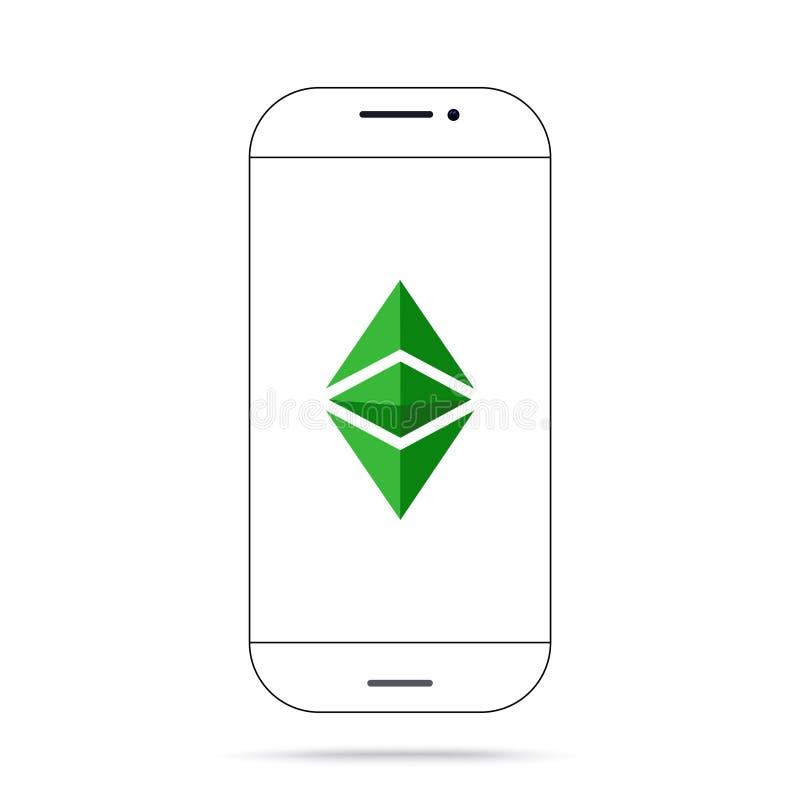 Διανυσματικό iphone εικονιδίων cryptocurrency κ.λπ. Ethereum κλασικό διανυσματική απεικόνιση