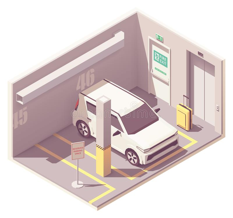 Διανυσματικό isometric γκαράζ χώρων στάθμευσης αυτοκινήτων διανυσματική απεικόνιση
