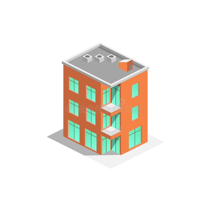 Διανυσματικό isometric εικονίδιο ή infographic στοιχεία που αντιπροσωπεύει τη χαμηλή πολυ πόλης πολυκατοικία με την οδό και τα αυ ελεύθερη απεικόνιση δικαιώματος