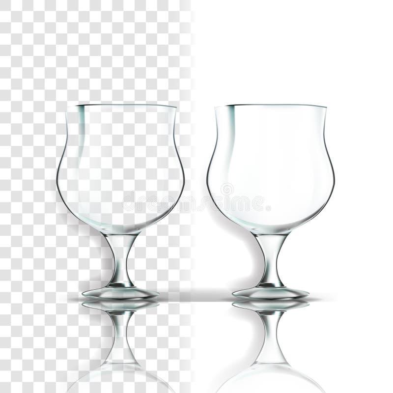 Διαφανές διάνυσμα γυαλιού Ενιαία μορφή Εικονίδιο πολυτέλειας Κενό σαφές φλυτζάνι γυαλιού Για το νερό, ποτό, κρασί, οινόπνευμα, χυ διανυσματική απεικόνιση